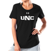 Ladies Under Armour Black Charged Cotton Tee-UNC