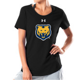 Ladies Under Armour Black Charged Cotton Tee-UNC Bear Logo