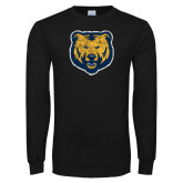 Black Long Sleeve T Shirt-Bear Mascot Distressed