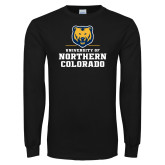 Black Long Sleeve T Shirt-Northern Colorado Stacked Logo
