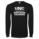 Black Long Sleeve T Shirt-UNC Collegiate Stacked