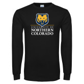 Black Long Sleeve T Shirt-University of Northern Colorado Academic Stacked