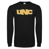Black Long Sleeve T Shirt-UNC Stroked Logo