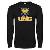Black Long Sleeve T Shirt-Interlocked UNC and Bear