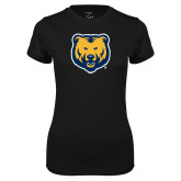 Ladies Syntrel Performance Black Tee-UNC Bear Logo