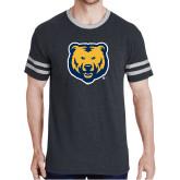 Black Heather/Grey Tri Blend Varsity Tee-UNC Bear Logo