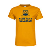 Youth Gold T Shirt-Northern Colorado Stacked Logo