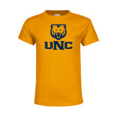 Youth Gold T Shirt-UNC Bear Stacked