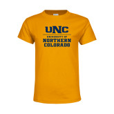 Youth Gold T Shirt-UNC Collegiate Stacked