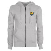 ENZA Ladies Grey Fleece Full Zip Hoodie-UNC Bear Logo