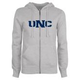 ENZA Ladies Grey Fleece Full Zip Hoodie-UNC