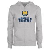 ENZA Ladies Grey Fleece Full Zip Hoodie-Northern Colorado Stacked Logo