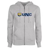 ENZA Ladies Grey Fleece Full Zip Hoodie-UNC Bears