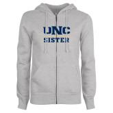 ENZA Ladies Grey Fleece Full Zip Hoodie-Sister