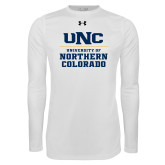 Under Armour White Long Sleeve Tech Tee-UNC Collegiate Stacked