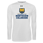 Under Armour White Long Sleeve Tech Tee-Northern Colorado Stacked Logo