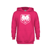 Youth Raspberry Fleece Hoodie-UNC Bear Logo