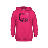 Youth Raspberry Fleece Hoodie-UNC Bear Logo Foil