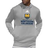 Adidas Grey Team Issue Hoodie-Northern Colorado Stacked Logo