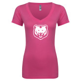 Next Level Ladies Junior Fit Ideal V Pink Tee-UNC Bear Logo