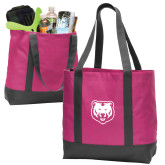 Tropical Pink/Dark Charcoal Day Tote-UNC Bear Logo