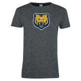 Ladies Dark Heather T Shirt-Bear Mascot Distressed