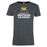 Ladies Dark Heather T Shirt-Northern Colorado Stacked Logo