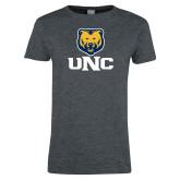 Ladies Dark Heather T Shirt-UNC Bear Stacked