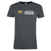 Ladies Dark Heather T Shirt-University of Northern Colorado Horizontal