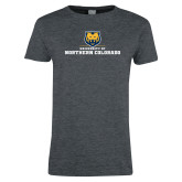 Ladies Dark Heather T Shirt-University of Northern Colorado Long Logo