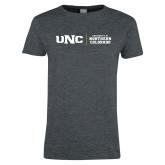 Ladies Dark Heather T Shirt-UNC Collegiate Horizontal