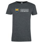 Ladies Dark Heather T Shirt-University of Northern Colorado Academic Horizontal