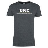 Ladies Dark Heather T Shirt-UNC Academic Block Verticle