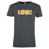 Ladies Dark Heather T Shirt-UNC Stroked Logo