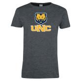 Ladies Dark Heather T Shirt-Interlocked UNC and Bear