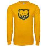 Gold Long Sleeve T Shirt-Bear Mascot Distressed