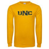 Gold Long Sleeve T Shirt-UNC Distressed
