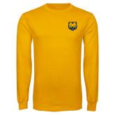 Gold Long Sleeve T Shirt-UNC Bear Logo