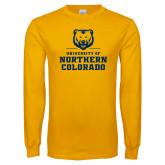 Gold Long Sleeve T Shirt-Northern Colorado Stacked Logo