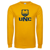 Gold Long Sleeve T Shirt-UNC Bear Stacked