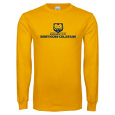 Gold Long Sleeve T Shirt-University of Northern Colorado Long Logo