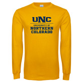 Gold Long Sleeve T Shirt-UNC Collegiate Stacked