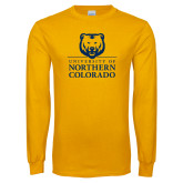 Gold Long Sleeve T Shirt-University of Northern Colorado Academic Stacked