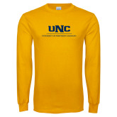 Gold Long Sleeve T Shirt-UNC Academic Block Verticle