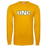 Gold Long Sleeve T Shirt-UNC Stroked Logo