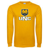 Gold Long Sleeve T Shirt-Interlocked UNC and Bear