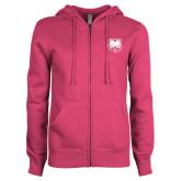 ENZA Ladies Fuchsia Fleece Full Zip Hoodie-UNC Bear Logo