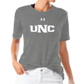 Ladies Under Armour Heather Grey Triblend Tee-UNC