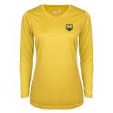 Ladies Syntrel Performance Gold Longsleeve Shirt-UNC Bear Logo