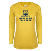 Ladies Syntrel Performance Gold Longsleeve Shirt-Northern Colorado Stacked Logo
